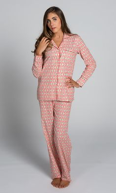 Alice Coral Pink Pajama Set size L -  I do like pajamas with no elastic in the waistband
