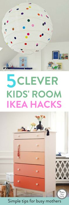 A roundup of super clever and easy to do IKEA hacks for furniture for kids bedrooms and playrooms, including a Regilit paper lantern polka dot hack, Billy bookcase hack,
