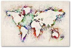 20 kreative und einfache DIY Leinwand Wandkunst Ideen 20 Creative and Simple DIY Canvas Wall Art Ideas World Map Painting, World Map Art, Diy Canvas, Canvas Wall Art, Painting Canvas, Canvas Ideas, Painted Wall Art, Diy Painting, Splatter Paint Canvas