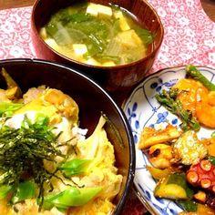 家の畑でとれたお野菜たーっぷり使ってお料理♪ - 1件のもぐもぐ - 親子丼 タコキム  カブの葉みそ汁 by sachiho902