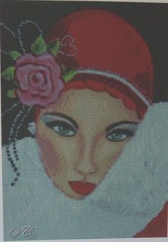 Cross Stitch Chart ART DECO LADY W/ RED HAT AND PINK ROSE No.24-101(Large Print)