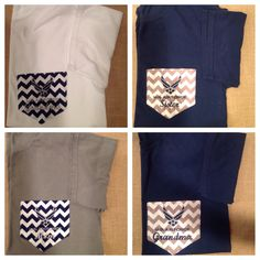 Comfort Colors Air Force pocket T-shirts. by LBMonograms on Etsy