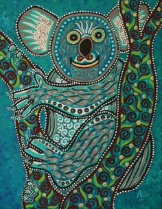 Koala bear painting Australian artist folk art by DreamtimeStudios Aboriginal Art Animals, Aboriginal Painting, Kunst Der Aborigines, Bear Paintings, Dot Art Painting, Art And Illustration, Animal Illustrations, Bear Art, Types Of Art