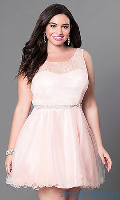 Shop plus-size blush pink party dresses at Simply Dresses. Short fit-and-flare dresses for holiday parties with beaded waists and rolled hemlines.