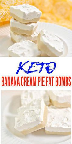 Easy keto banana cream pie fat bombs that are creamy and delicious. Simple and quick low carb fat bomb recipe for the BEST banana cream pie fat… Keto Desserts, Banana Dessert Recipes, Keto Dessert Easy, Sweets Recipes, Easy Desserts, Keto Snacks, Breakfast Recipes, Diet Breakfast, Lunch Recipes