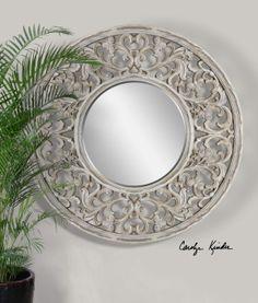 Cordillera distressed ivory mirror