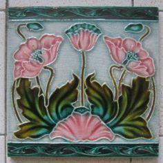 Art Nouveau Majolica tile england