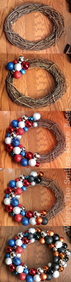 This is such a great tutorial showing how to make an ornament wreath! You can easily change up the ornaments for any season, holiday, or occasion!