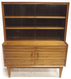 Vintage Alfred Cox Walnut Glass Cabinet  Retro 20th Century Furniture