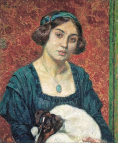 Young lady with a dog , 1910 ,by Theo van Rysselberghe