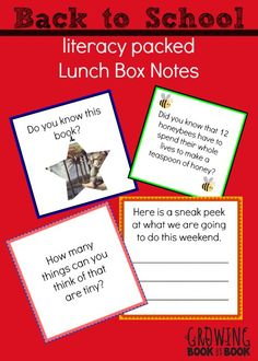 Lunch box notes are great for putting in those back to school lunches from growingbookbybook.com