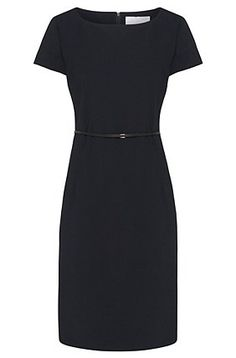 'Dilya' | Stretch Virgin Wool Belted Sheath Dress, Open Blue