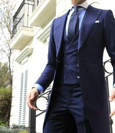One Button Bule Formal Terno Masculino Custume Homme Fashion Men Suits High Quality Gentleman Mode, Gentleman Style, Sharp Dressed Man, Well Dressed Men, Mode Cool, Morning Suits, Morning Dress, Moda Do Momento, Look 2015