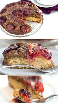 This classic plum upside-down cake from makes a lovely center piece to any table.  The fruit and sugar make a warm, sticky