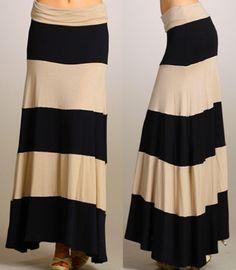 Jersey Knit fabric for maxi skirts | Black Tan Stripe Jersey Maxi Skirt Stretch Knit Dress Foldover Long ...