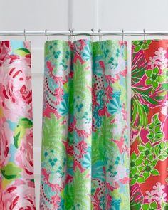 Lilly Pulitzer® Sister Florals Shower Curtain Back with blackout material for a curtain???
