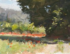 daily painting titled Track with poppies - click for enlargement