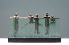On the Edge • 15.75x8x3, bronze/glass Clay Enoch. Oh this is so so cute!