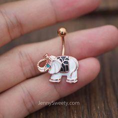 Elephant Belly Button Ring Belly Button Piercing Belly Rings Navel Rings   #Piercing #BellyPiercing #BodyJewelry #NavelRing #PiercedandProud #CartilageEarring #BodyArt #GirlswithPiercings #BellyRing #JennySweety