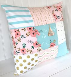 Pillow Cover, Nursery Pillow Cover, Shabby Chic, Throw Pillow, 18 x 18 Inches, Blush,Pink, Aqua, Blue, Gold, Flowers, Floral, Teepee, Arrows