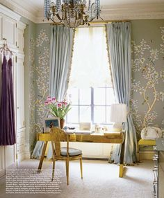 I love these duck egg curtains with fabulous trimming!