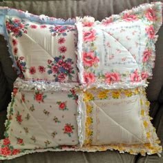 My grand mom used to give me hankies when I was a young girl. Vintage Hanky Handkerchief Rag Quilted Pillow Cover by ZeedleBeez Fabric Crafts, Sewing Crafts, Sewing Projects, Rag Quilt, Quilts, Handkerchief Crafts, Big Pillows, Cushions, Vintage Handkerchiefs