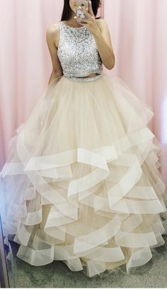 two piece prom dresses ball gowns evening Prom Dresses Two Piece, Cute Prom Dresses, Grad Dresses, Mermaid Dresses, Ball Dresses, Pretty Dresses, Homecoming Dresses, Beautiful Dresses, Formal Dresses