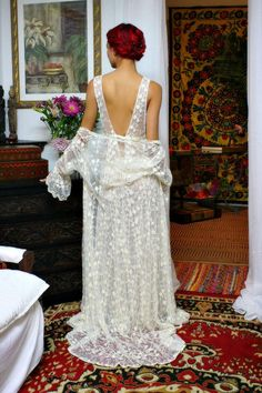 Embroidered French Lace Bridal Robe Heirloom by SarafinaDreams