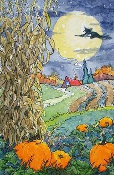 'A Quiet October Flight' Storybook Cottage Series by Alida Akers