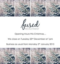 Our opening hours this festive season… #WeAreFused