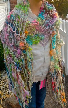 Hand Knit One of a KInd Scarf  in Multi Color by bpenatzer on Etsy, $96.00