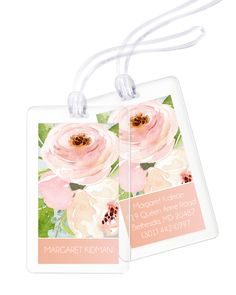Personalized Pink and Grey Bouquet Luggage Tags