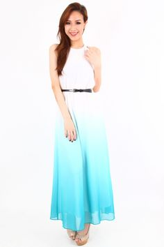 *Backorder 2* Ombre Maxi Dress In Turquoise | DANDZELIA