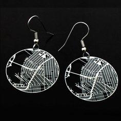 brooklyn earrings #maps #art #design #jewelery