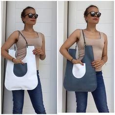 New design double face leather tote / White -blue denim straps leather shoulder by Lara Klass bag by LaraKlass on Etsy Best Bags, News Design, Blue Denim, Leather Bag, Trending Outfits, Tote Bag, Shoulder, Face, Etsy