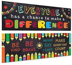 Sproutbrite Classroom Banner/Posters for Decorations - Educational, Motivational & Inspirational Growth Mindset for Teacher, Students - 2 Poster Pack - Each (Paper) Summer Bulletin Boards, Back To School Bulletin Boards, Classroom Bulletin Boards, School Hallways, School Murals, School Doors, Classroom Banner, School Classroom, Classroom Themes
