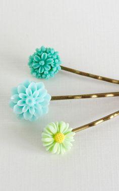 Aqua Green Hair Pins Bobby Pins