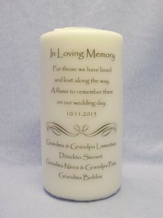 A beautiful way to have someone important to you at your wedding after they've passed. Could use this and put little pictures of the passed away relatives around it.