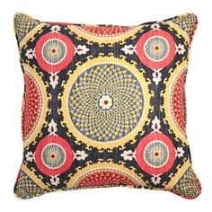 "Cotton pillow with a medallion motif.   Product: PillowConstruction Material: CottonColor: Fiesta Features: Insert includedMade in the USA  Dimensions: 16"" x 16"" Cleaning and Care: Professional cleaning recommended"