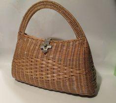 Vintage 1950's Brown Wicker Hand Bag / Purse