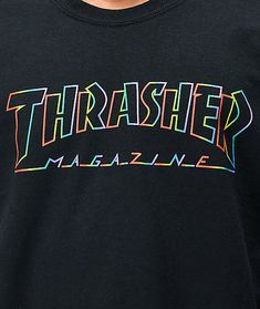 Add a splash of color to your skate-inspired style thanks to the Spectrum black t-shirt from Thrasher. This black cotton tee features Thrasher's classic logo text across the chest, screen-printed in a multicolored rainbow colorway that is sure to draw att Aesthetic T Shirts, Aesthetic Clothes, Swag Outfits, Cool Outfits, Skater Outfits, Tee Shirt Trasher, Thrasher Outfit, Vaporwave Shirt, Trendy Hoodies