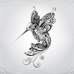 Hummingbird Art Label Car Bumper Sticker Decal x Hummingbird Tattoo Black, Hummingbird Drawing, Black Tattoos, New Tattoos, Tribal Tattoos, Flor Tattoo, Mandala Tattoo, Illustration Colibri, Art Colibri