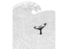 word waves w whale fluke. would make a cool drawing with favorite quotes or selection of text