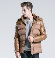 Thick Down Jackets Men Clothing Mens Casual Spliced Hooded Down Coats Male Fashion Winter Outerwear