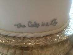 Gamer reference on the back of our wedding cake.