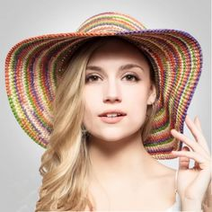 Color Stripe straw hat wide brim for women UV package