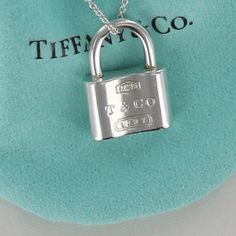 "496774fd164 Tiffany & Co Sterling Silver 1837 Padlock Charm Pendant Necklace 16""  Chain #TiffanyCo"