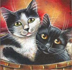 Black & White Cats - Valentine Painting