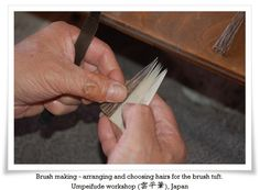 """There are two major brush making methods. One results in a type of brush we can commonly buy today, and the other so called in Japanese maki fude (巻き筆. lit. """"wrapped brush""""). The main difference is that the hairs of maki fude are strengthened with special hemp paper wrapping. Maki fude was popular in Japan until 17th century when a scholar Hosoi Kotaku (細井広沢1658 – 1735) has introduced a new brush type which is used till modern era."""