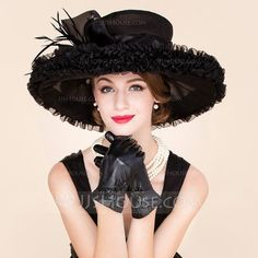 [AU$77.00] Ladies' Glamourous Organza With Feather Floppy Hat